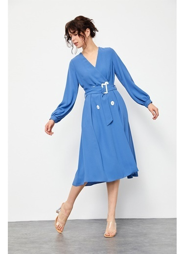 Setre Koyu Mint Düğmeli Diz Altı Midi Boy Elbise Lacivert